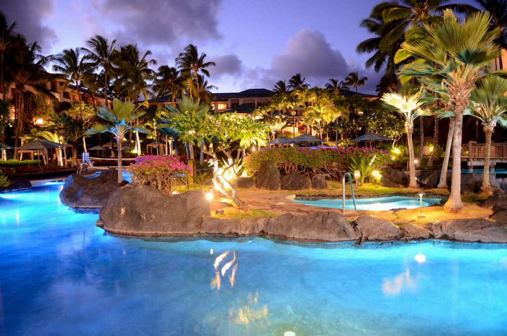 Grand Hyatt Kauai's Pool at Night