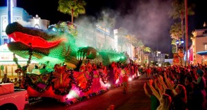 Celebrate Mardi Gras on Hollywood Blvd at Universal Studios Florida with floats, beads, silt walkers, and more!