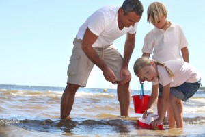 Beach destination kids single parents