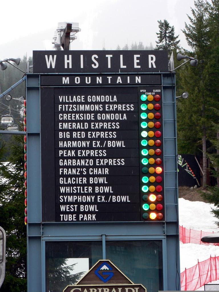 Whistler Mountain run traffic light