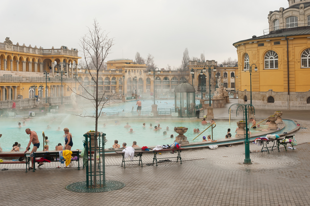 Budapest's Szechenyi Thermal baths warm everyone up in winter!