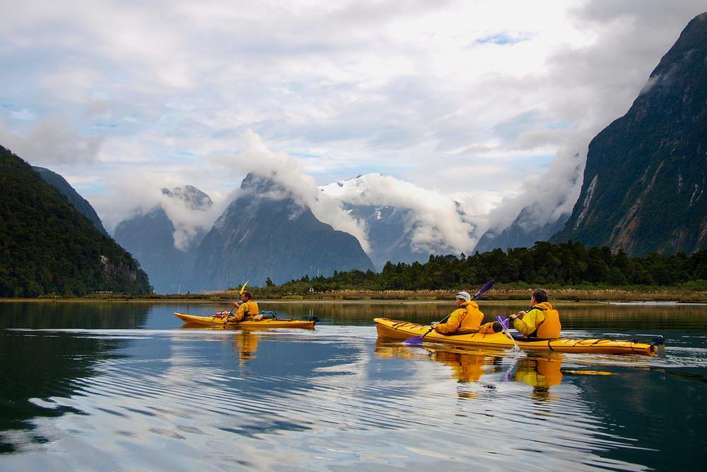 Kayaking through Milford Sound