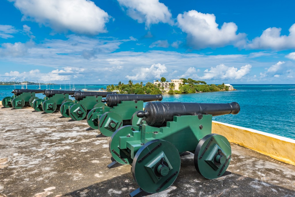 Cannons face the sea to protect Christiansted from pirate attacks