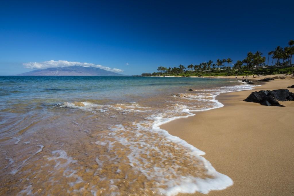Waves wash up on a South Maui beach