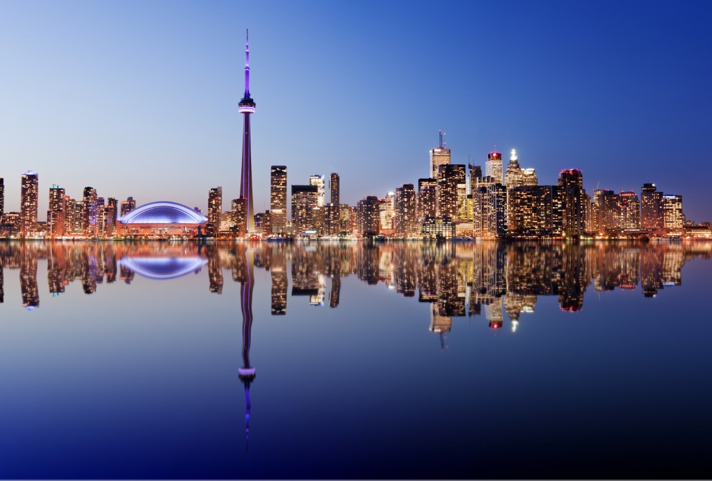 Toronto city skyline at twilight, Canada.