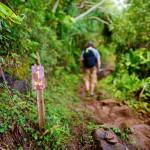 One mile sign on Kalalau trail in Kauai
